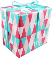 LOVLY® Cadeaupapier, 30cm, 200m, 80gr/m², Triangle zilver, 687, lichtroze