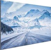 Besneeuwde bergen Aluminium 180x120 cm - Foto print op Aluminium (metaal wanddecoratie) XXL / Groot formaat!