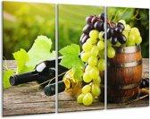 Glas schilderij Keuken, Druiven | Groen, Bruin | 120x80cm 3Luik | Foto print op Glas |  F007493