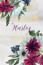 Harley: Personalized Journal Gift Idea for Women (Burgundy and White Mums)