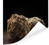 Knolselderij op een tafel met een zwarte achtergrond Poster 100x100 cm - Foto print op Poster (wanddecoratie woonkamer / slaapkamer)