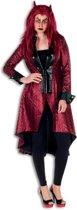 Duivels dames jas lang metallic rood