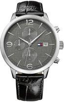 Tommy Hilfiger TH1710361 Horloge - Leer - Zwart - 42 mm