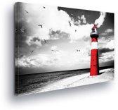 Lighthouse Sea Nature Black White Canvas Print 100cm x 75cm