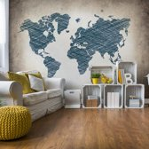 Fotobehang Modern World Map | V4 - 254cm x 184cm | 130gr/m2 Vlies