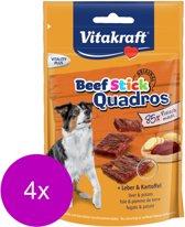 Vitakraft Beef Stick Quadros Lever & Aardappel - Hond - Snack - 4 x 70 gr
