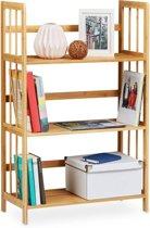 relaxdays - opbergrek bamboe - 3 etages - boekenrek - badkamer rek - schoenenrek