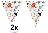 2x Sinterklaas thema snoep print vlaggenlijnen / slingers 10 meter