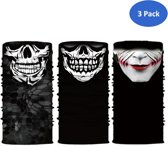 TwinQ 3 Pack Faceshield Skull - Multifunctionele bandana van microfiber