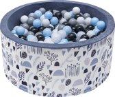 Ballenbak | Patroontjes natuur incl.  200 witte, grijze, zwarte en blauwe ballen