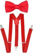 Fako Fashion® - Bretels Met Vlinderstrik - Effen - 100cm - Rood