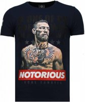 Local Fanatic Conor McGregor - Rhinestone T-shirt - Blauw - Maten: M
