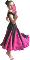Spaanse Flamenco Rok - zwart roze met zwarte stippen voor meisjes - Maat 6 - kledingmaat 104-110