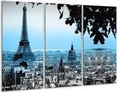 Glas schilderij Parijs, Eiffeltoren   Blauw, Grijs   120x80cm 3Luik   Foto print op Glas    F007498