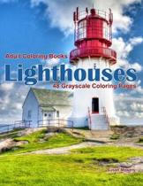 Adult Coloring Books Lighthouses: Life Escapes Adult Coloring Books with 48 grayscale coloring pages of lighthouses