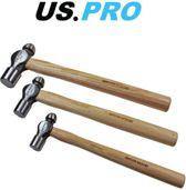 Bolhamer-set / Bolkop hamerset met hickory steel 3-delig