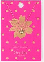Orelia ketting kort - tropische bloem - goudkleurig - 40,5 cm + 5,0 cm verlengstuk