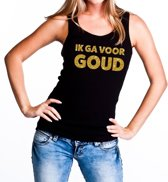Ik ga voor Goud glitter tekst tanktop / mouwloos shirt zwart dames - dames singlet Ik ga voor Goud XL
