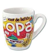 Mok - Cartoon Mok - Voor de liefste Opa - Gevuld met een toffeemix - In cadeauverpakking met gekleurd krullint