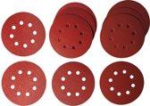 Schuurpapier rond 125mm, 8-gaats, 10 stuks div korrels: 2x60 4x120  4x240 | Makita P-43549