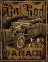 Signs-USA - Rat Rod Garage - retro wandbord - 40 x 30 cm - metaal