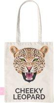 BEACHLANE - Katoenen tasje - Canvas Tote Bag Shopper - Cheeky Leopard / Luipaard hoofden print - Schoudertas / Boodschappen tas