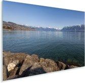 Het Meer van Genève gezien vanaf de oevers Plexiglas 30x20 cm - klein - Foto print op Glas (Plexiglas wanddecoratie)