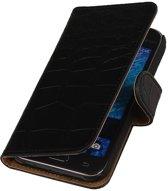 Samsung galaxy j1 2015 J100F Zwart   Croco bookstyle / book case/ wallet case Hoes    WN™