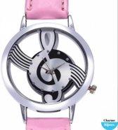 Horloge-Gsleutel-roze- midden roze- 40 cm