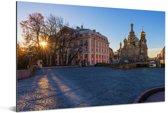 De Russische Kerk van de Verlosser op het Bloed in Europa Aluminium 120x80 cm - Foto print op Aluminium (metaal wanddecoratie)