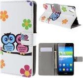 qMust Huawei Y6 Wallet Case - hoesje met stand - Cute Owls