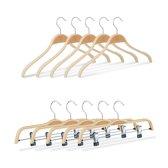 relaxdays kledinghangers 10er set - 2 modellen - klerenhangers - broekhangers - hout