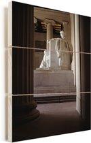 Het Lincoln Memorial met een mooie pilaar in Amerika Vurenhout met planken 20x30 cm - klein - Foto print op Hout (Wanddecoratie)