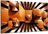 Canvas schilderij Art   Oranje, Zwart, Wit   120x70cm 1Luik