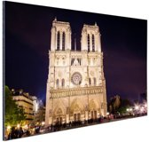 FotoCadeau.nl - Notre Dame bij nacht Aluminium 90x60 cm - Foto print op Aluminium (metaal wanddecoratie)