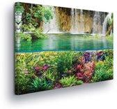 Waterfall Sea Jungle Nature Canvas Print 100cm x 75cm