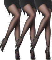 Panty - 3-Pack - Satin soft - 20 Denier - Zwart - Maat M/L