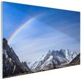 Regenboog over Karakoram  Glas 60x40 cm - Foto print op Glas (Plexiglas wanddecoratie)