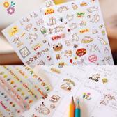 6 velletjes Kawaii Stickers met katten, bloemetjes en teksten - Super schattig