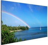 Zeilboot en dubbele regenboog foto Aluminium 30x20 cm - klein - Foto print op Aluminium (metaal wanddecoratie)