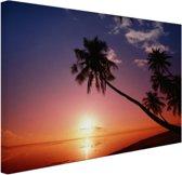 Silhouet van palmbomen bij zonsondergang Canvas 60x40 cm - Foto print op Canvas schilderij (Wanddecoratie woonkamer / slaapkamer)