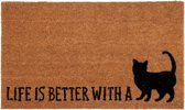 "Clayre & Eef  Deurmat ""Life is better with a cat"""