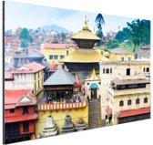 Pashupatinath Temple Nepal Aluminium 90x60 cm - Foto print op Aluminium (metaal wanddecoratie)