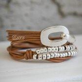 Wikkel Armband Dayz Leer met Gesp | Edelmetaal | Polsmaat 15-19 cm