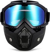 Motor-Fiets-Scooter-Ski bril & Masker I Anti-UV lens I Blauw
