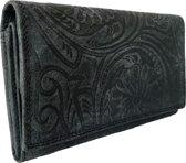 Lundholm Leren dames portemonnee dames leer overslag model zwart luxe uitgevoerd - veel ruimte - leder met bloemen print