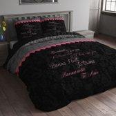 Sleeptime Love Bed - Dekbedovertrek - Eenpersoons - 140x200/220 cm + 1 kussensloop 60x70 cm - Zwart