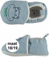 Lichtblauwe babyslofjes met nijlpaard maat 18/19