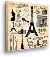 Paris Brochure Vintage Canvas Print 80cm x 80cm