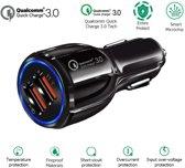 DrPhone QC Pro - Qualcomm 3.0 Fast Charge 30W Auto Oplader Zwart - Dual Poort 2 Poorten Snellader Reislader Auto Lader QC 3.0